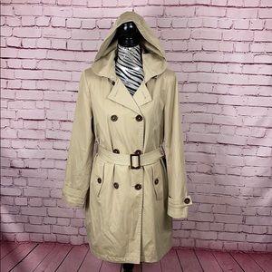 Michael Kors Trench Coat w/ Detachable Hood Sz L